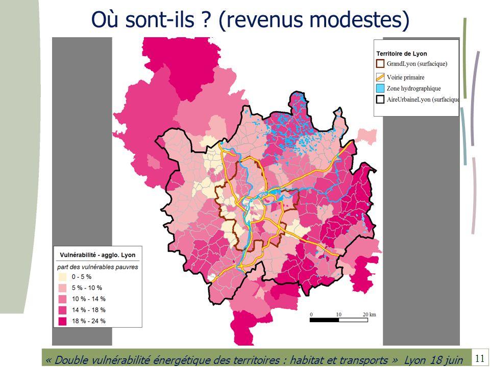 11 « Double vulnérabilité énergétique des territoires : habitat et transports » Lyon 18 juin Où sont-ils ? (revenus modestes)