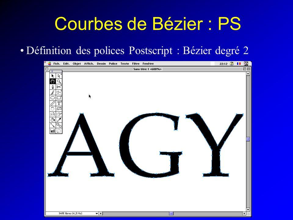Courbes de Bézier : PS Définition des polices Postscript : Bézier degré 2