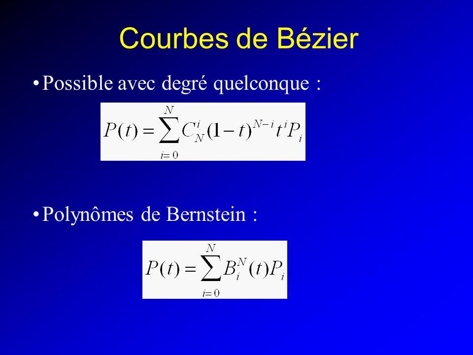 Courbes de Bézier Possible avec degré quelconque : Polynômes de Bernstein :