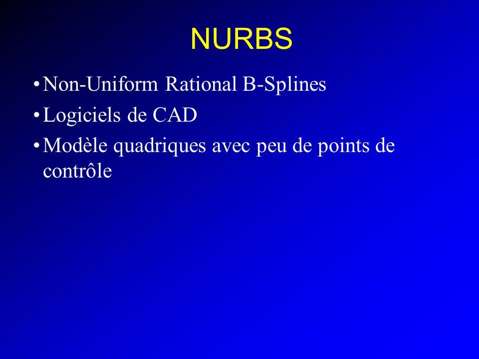 NURBS Non-Uniform Rational B-Splines Logiciels de CAD Modèle quadriques avec peu de points de contrôle