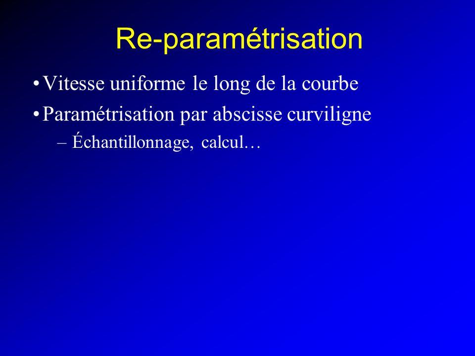 Re-paramétrisation Vitesse uniforme le long de la courbe Paramétrisation par abscisse curviligne –Échantillonnage, calcul…