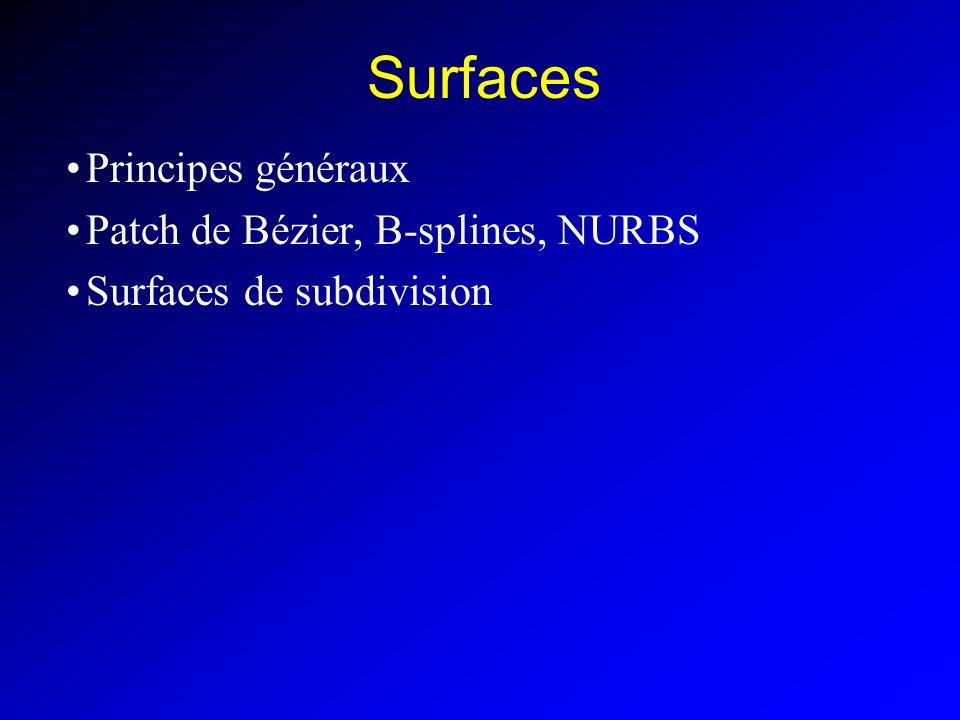 Surfaces Principes généraux Patch de Bézier, B-splines, NURBS Surfaces de subdivision