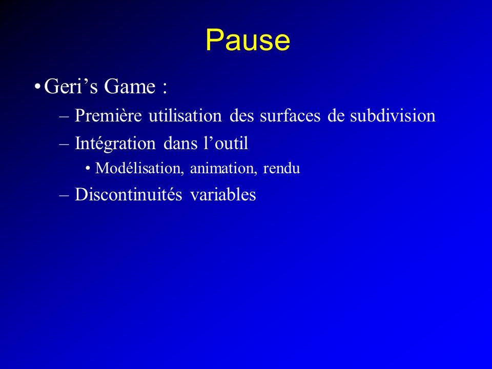 Pause Geris Game : –Première utilisation des surfaces de subdivision –Intégration dans loutil Modélisation, animation, rendu –Discontinuités variables