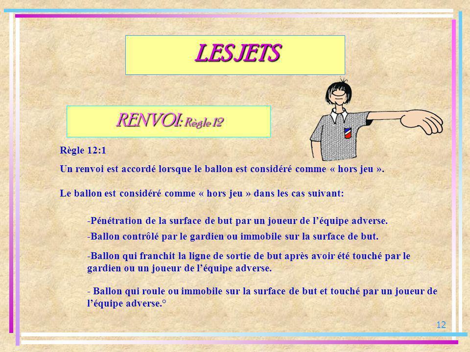 12 RENVOI: Règle 12 Règle 12:1 Un renvoi est accordé lorsque le ballon est considéré comme « hors jeu ». LES JETS Le ballon est considéré comme « hors