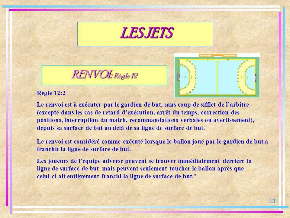13 RENVOI: Règle 12 Règle 12:2 Le renvoi est à exécuter par le gardien de but, sans coup de sifflet de larbitre (excepté dans les cas de retard dexécu