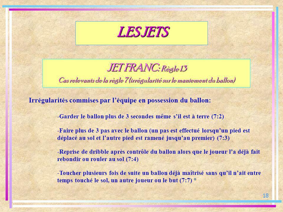18 JET FRANC: Règle 13 Cas relevants de la règle 7 (irrégularité sur le maniement du ballon) Irrégularités commises par léquipe en possession du ballo