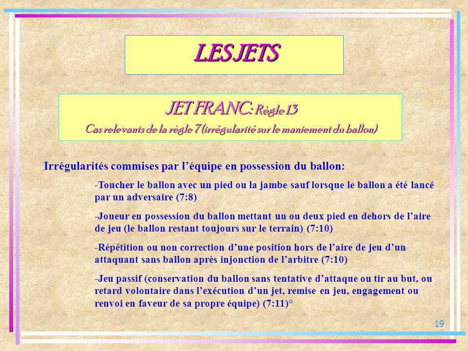 19 JET FRANC: Règle 13 Cas relevants de la règle 7 (irrégularité sur le maniement du ballon) Irrégularités commises par léquipe en possession du ballo