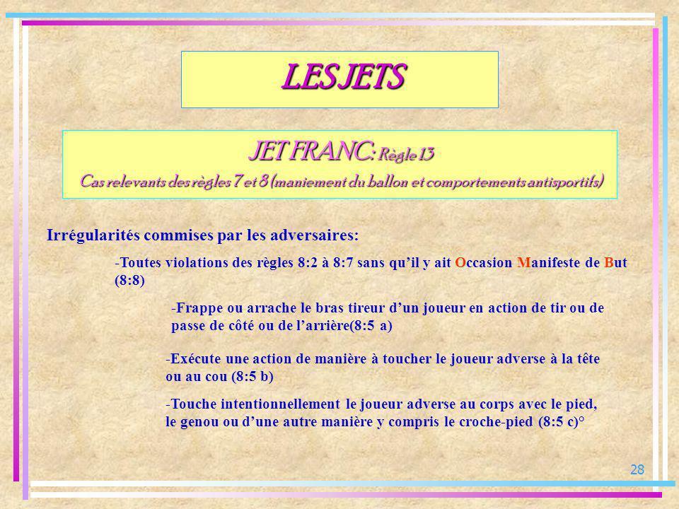 28 JET FRANC: Règle 13 Cas relevants des règles 7 et 8 (maniement du ballon et comportements antisportifs) Irrégularités commises par les adversaires: