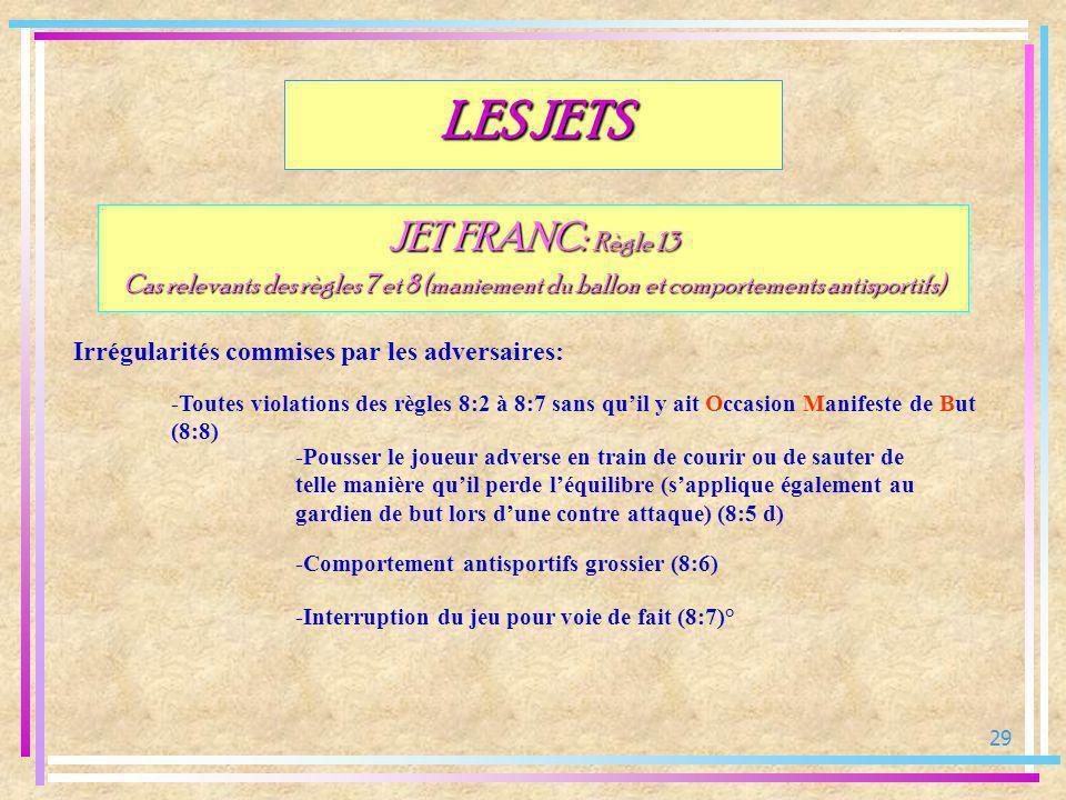 29 JET FRANC: Règle 13 Cas relevants des règles 7 et 8 (maniement du ballon et comportements antisportifs) Irrégularités commises par les adversaires: