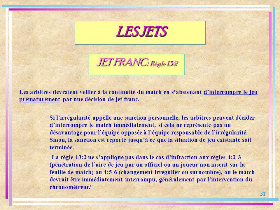 31 JET FRANC: Règle 13:2 Les arbitres devraient veiller à la continuité du match en sabstenant dinterrompre le jeu prématurément par une décision de j