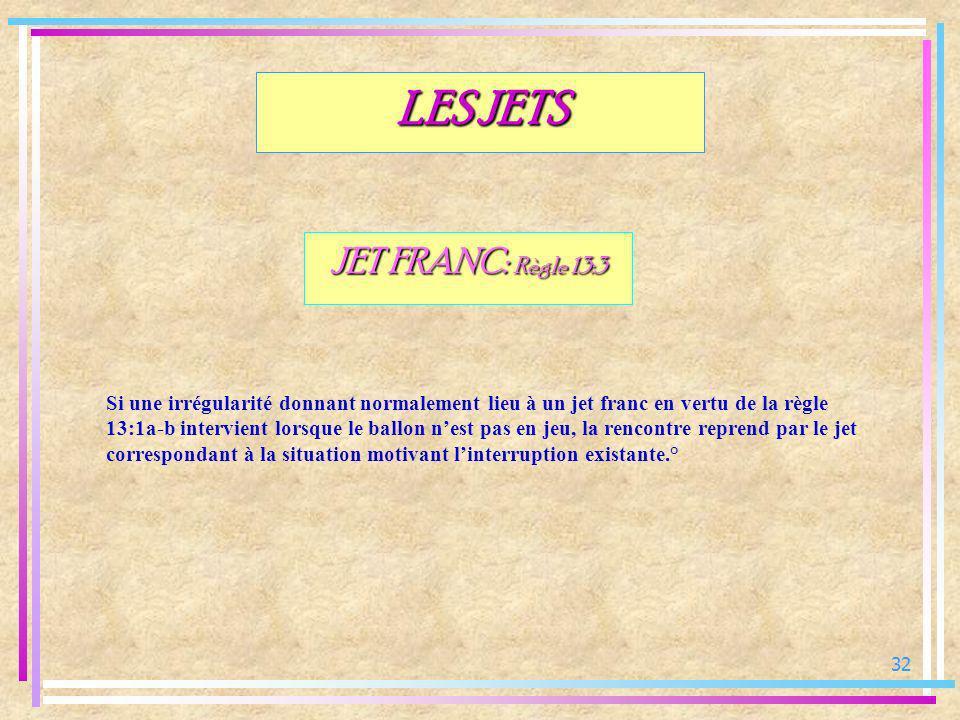 32 JET FRANC: Règle 13:3 Si une irrégularité donnant normalement lieu à un jet franc en vertu de la règle 13:1a-b intervient lorsque le ballon nest pa