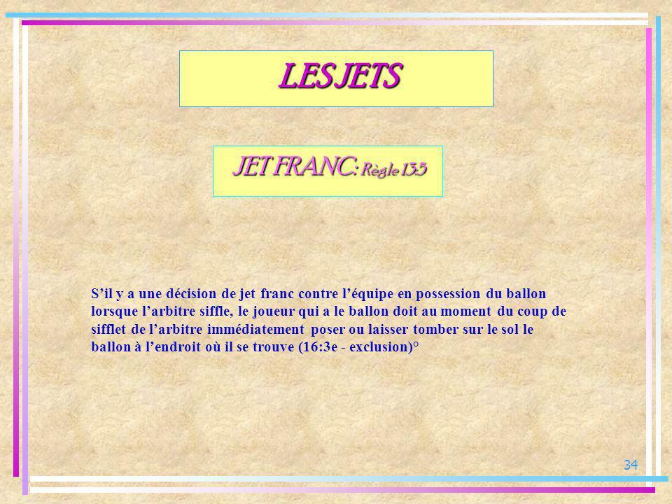34 JET FRANC: Règle 13:5 Sil y a une décision de jet franc contre léquipe en possession du ballon lorsque larbitre siffle, le joueur qui a le ballon d