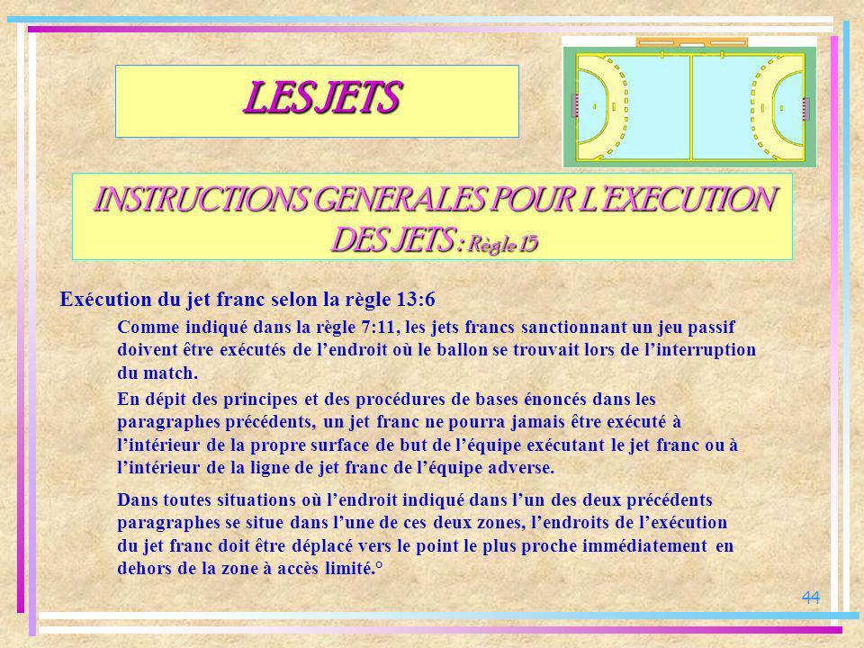 44 INSTRUCTIONS GENERALES POUR LEXECUTION DES JETS : Règle 15 Exécution du jet franc selon la règle 13:6 LES JETS Comme indiqué dans la règle 7:11, le
