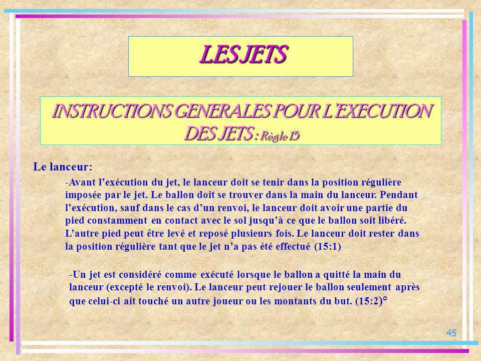 45 INSTRUCTIONS GENERALES POUR LEXECUTION DES JETS : Règle 15 Le lanceur: LES JETS -Avant lexécution du jet, le lanceur doit se tenir dans la position