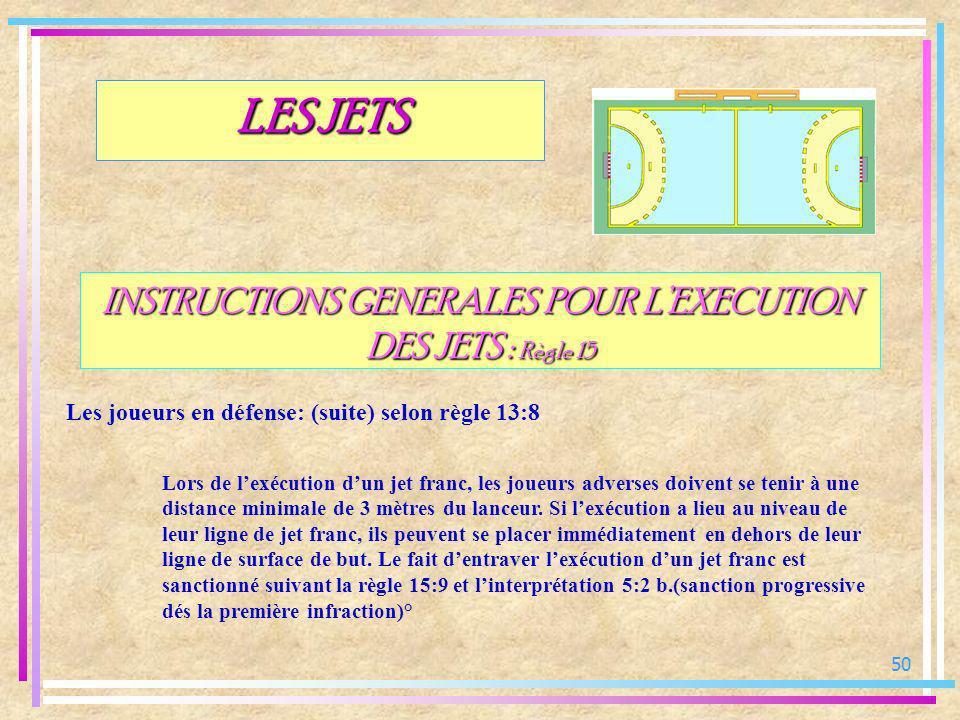 50 INSTRUCTIONS GENERALES POUR LEXECUTION DES JETS : Règle 15 Les joueurs en défense: (suite) selon règle 13:8 LES JETS Lors de lexécution dun jet fra