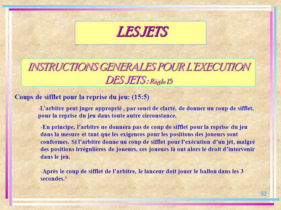 52 INSTRUCTIONS GENERALES POUR LEXECUTION DES JETS : Règle 15 Coups de sifflet pour la reprise du jeu: (15:5) LES JETS -Larbitre peut juger approprié,