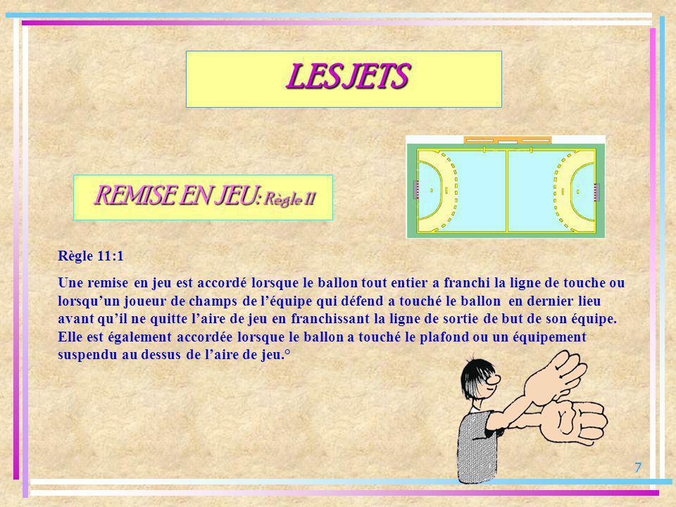 18 JET FRANC: Règle 13 Cas relevants de la règle 7 (irrégularité sur le maniement du ballon) Irrégularités commises par léquipe en possession du ballon: LES JETS -Garder le ballon plus de 3 secondes même sil est à terre (7:2) -Faire plus de 3 pas avec le ballon (un pas est effectué lorsquun pied est déplacé au sol et lautre pied est ramené jusquau premier) (7:3) -Reprise de dribble après contrôle du ballon alors que le joueur la déjà fait rebondir ou rouler au sol (7:4) ° -Toucher plusieurs fois de suite un ballon déjà maîtrisé sans quil nait entre temps touché le sol, un autre joueur ou le but (7:7) °