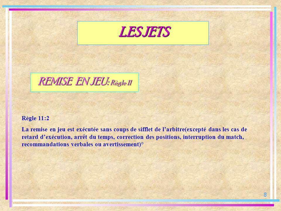 8 LES JETS REMISE EN JEU: Règle 11 Règle 11:2 La remise en jeu est exécutée sans coups de sifflet de larbitre(excepté dans les cas de retard dexécutio