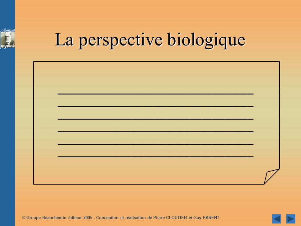 © Groupe Beauchemin éditeur 2005 - Conception et réalisation de Pierre CLOUTIER et Guy PARENT La perspective biologique ______________________________