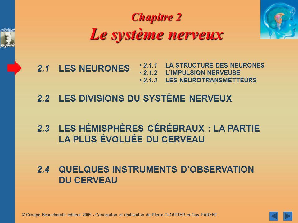 © Groupe Beauchemin éditeur 2005 - Conception et réalisation de Pierre CLOUTIER et Guy PARENT Chapitre 2 Le système nerveux 2.1 LES NEURONES 2.2 LES D