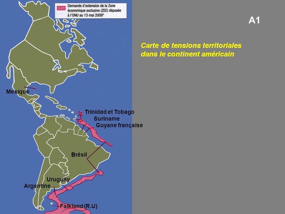 Brésil Argentine Mexique Uruguay Guyane française Suriname Trinidad et Tobago Falkland (R.U) Carte de tensions territoriales dans le continent américain A1