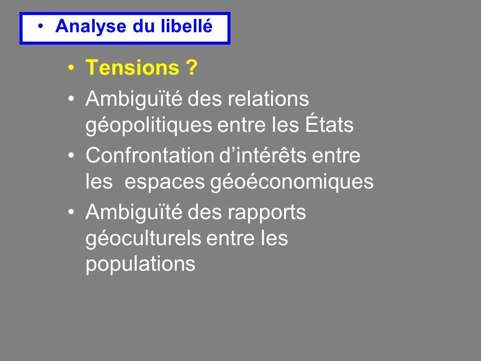 Analyse du libellé Tensions .