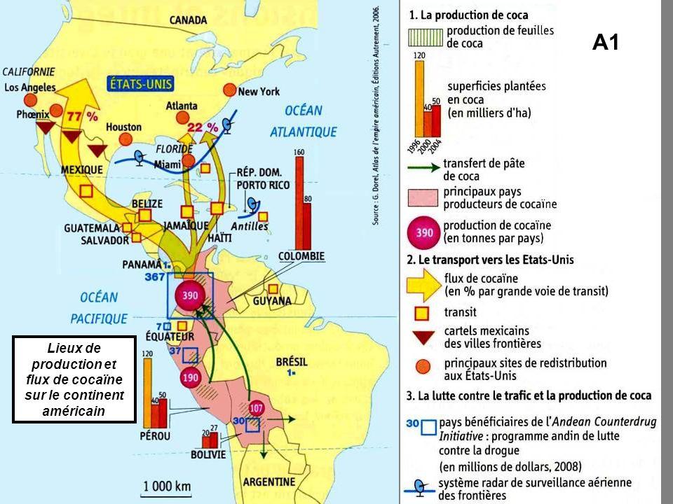 A1 Lieux de production et flux de cocaïne sur le continent américain