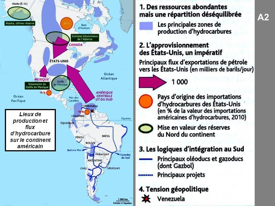 Lieux de production et flux dhydrocarbure sur le continent américain A2