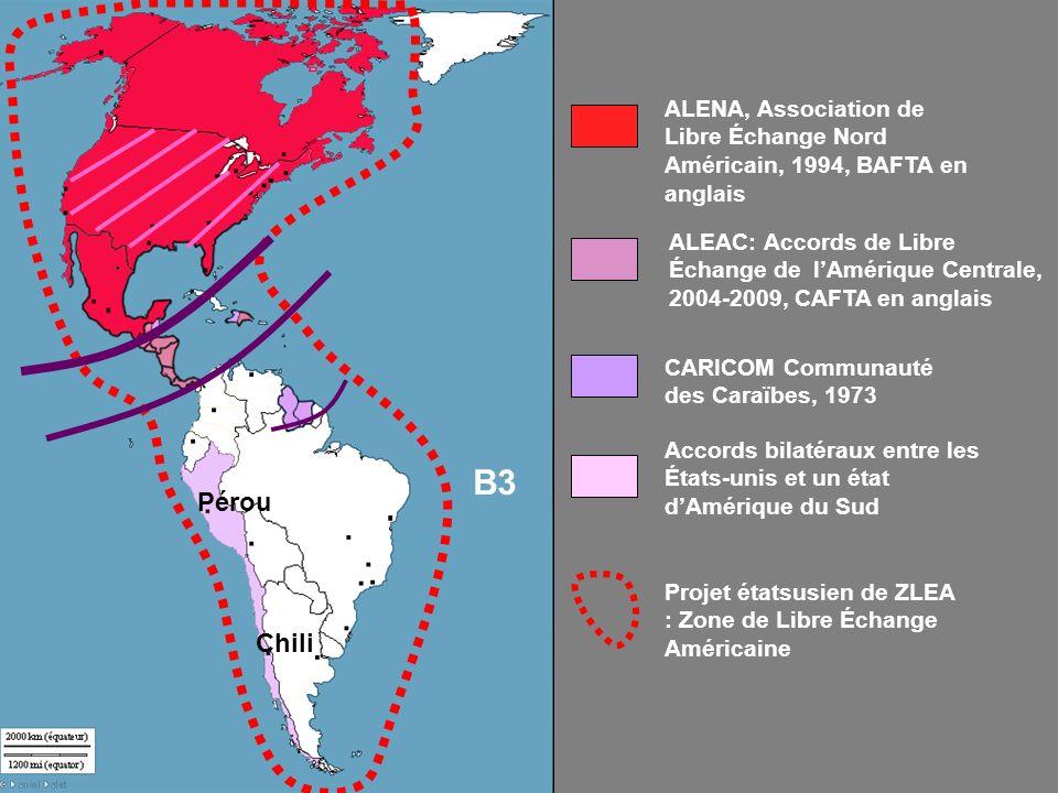 Accords bilatéraux entre les États-unis et un état dAmérique du Sud Pérou Chili CARICOM Communauté des Caraïbes, 1973 ALEAC: Accords de Libre Échange de lAmérique Centrale, 2004-2009, CAFTA en anglais ALENA, Association de Libre Échange Nord Américain, 1994, BAFTA en anglais Projet étatsusien de ZLEA : Zone de Libre Échange Américaine B3