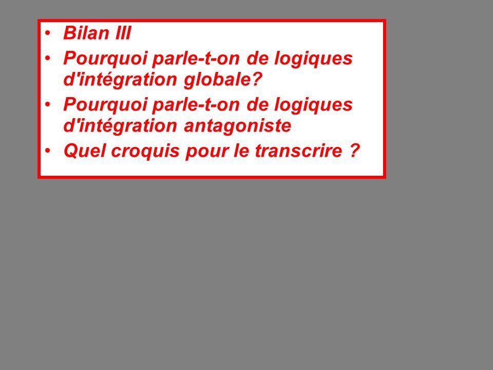 Bilan III Pourquoi parle-t-on de logiques d intégration globale.