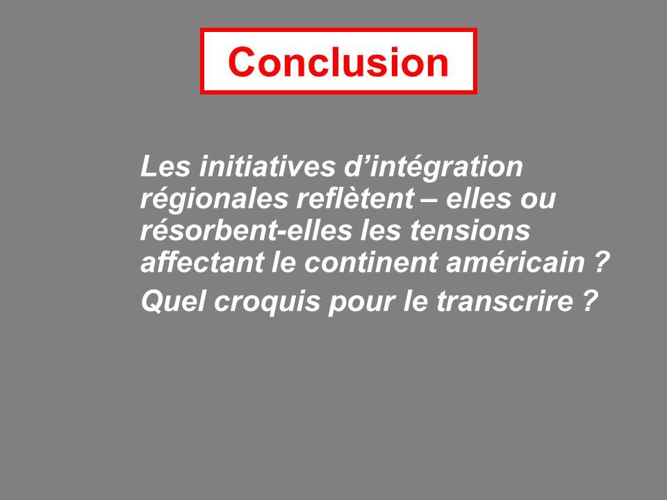 Conclusion Les initiatives dintégration régionales reflètent – elles ou résorbent-elles les tensions affectant le continent américain .