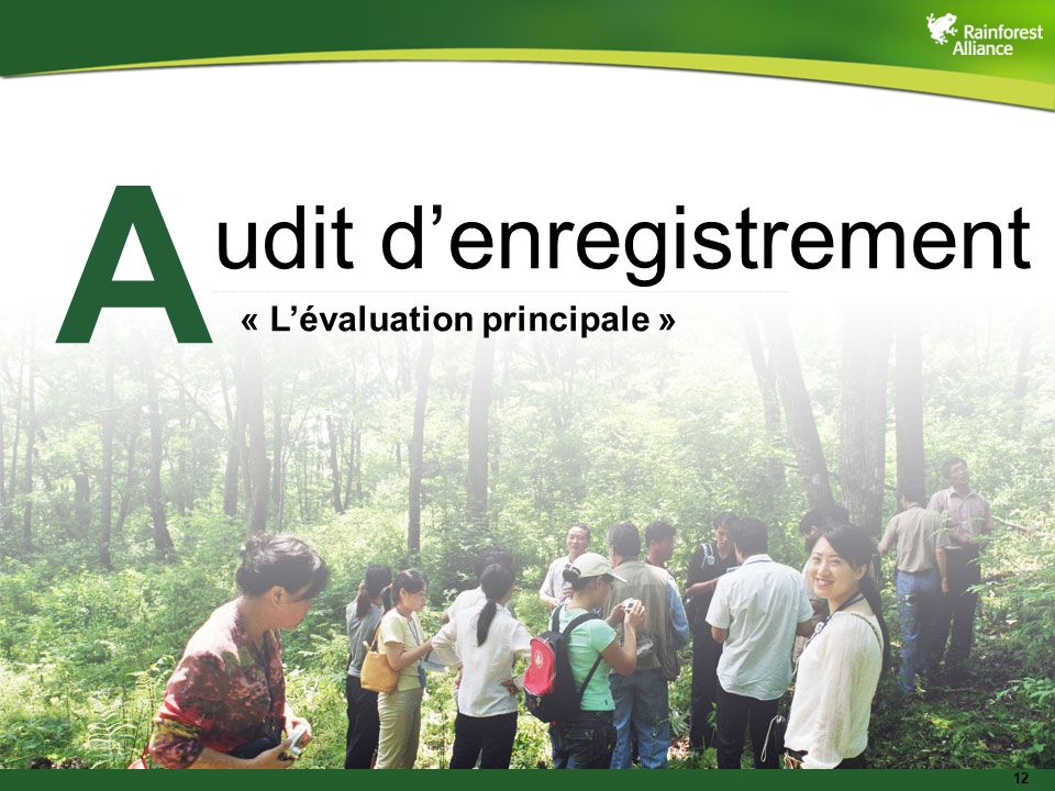 12 udit denregistrement « Lévaluation principale » A