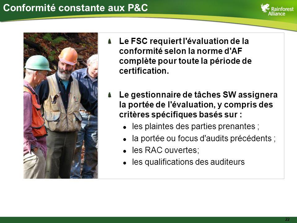 22 Conformité constante aux P&C Le FSC requiert l'évaluation de la conformité selon la norme d'AF complète pour toute la période de certification. Le