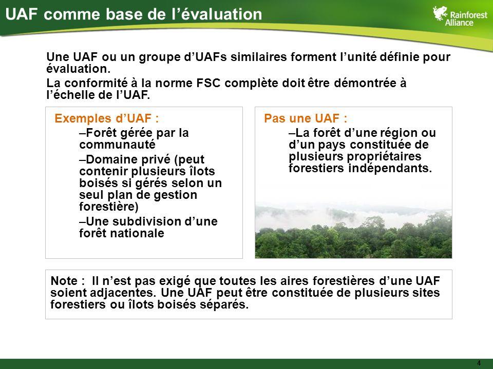 4 UAF comme base de lévaluation Une UAF ou un groupe dUAFs similaires forment lunité définie pour évaluation. La conformité à la norme FSC complète do