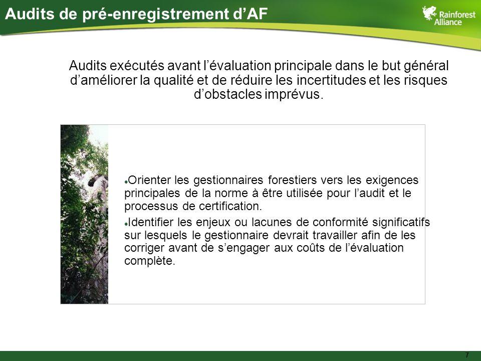 7 Audits de pré-enregistrement dAF Audits exécutés avant lévaluation principale dans le but général daméliorer la qualité et de réduire les incertitud