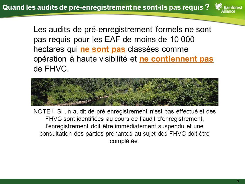10 Audits de pré-enregistrement dAF : EAF à petite échelle avec FHVC Audit denregistrement en deux étapes adapté pour inclure une pré- consultation avec les parties prenantes au sujet des FHVC Phase I Développement de la liste des parties prenantes Avis aux parties prenantes – 60 jours avant la visite sur le terrair pour laudit denregistrement Pré-consultation Phase II Évaluation sur le terrain Option pour les EAF de moins de 10 000 hectares avec (ou à haute probabilité davoir) des FHVC :