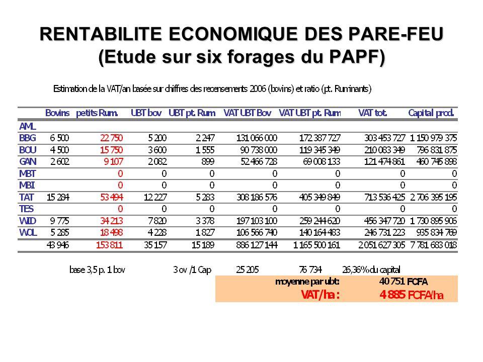 RENTABILITE ECONOMIQUE DES PARE-FEU (Etude sur six forages du PAPF)