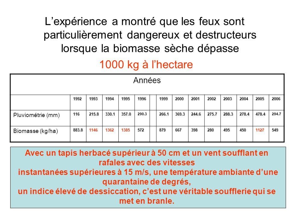 Lexpérience a montré que les feux sont particulièrement dangereux et destructeurs lorsque la biomasse sèche dépasse 1000 kg à lhectare Années 1992199319941995199619992000200120022003200420052006 Pluviométrie (mm)116215.8330.1357.0290.3266.1369.3244.6275.7288.3278.4478.4294.7 Biomasse (kg/ha)883.81146136213855728796673982804954501127549 Avec un tapis herbacé supérieur à 50 cm et un vent soufflant en rafales avec des vitesses instantanées supérieures à 15 m/s, une température ambiante dune quarantaine de degrés, un indice élevé de dessiccation, cest une véritable soufflerie qui se met en branle.