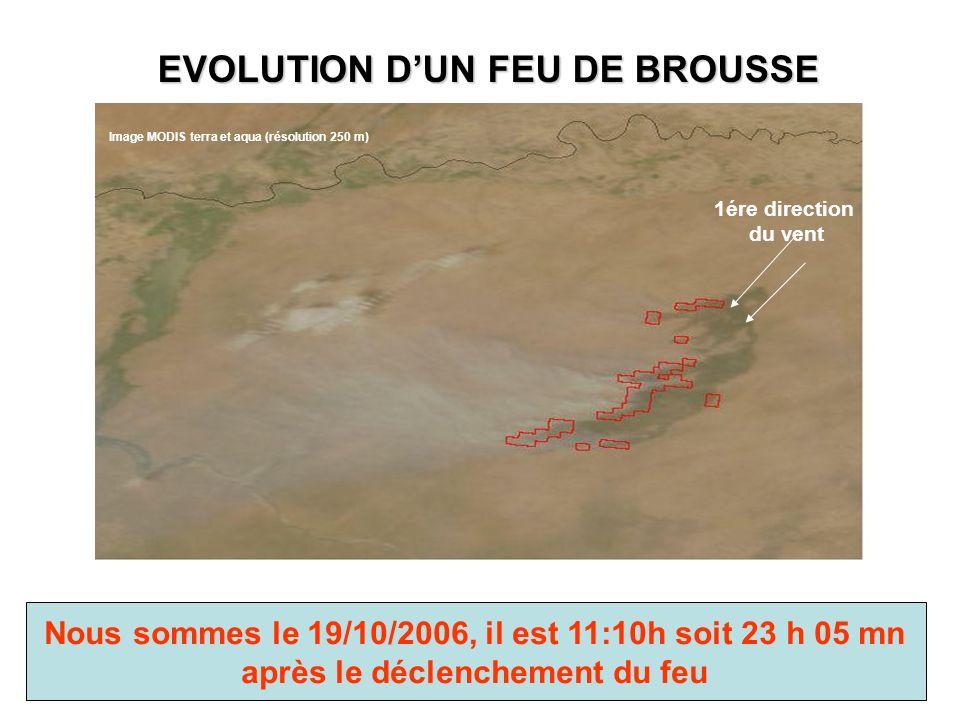 EVOLUTION DUN FEU DE BROUSSE Nous sommes le 19/10/2006, il est 11:10h soit 23 h 05 mn après le déclenchement du feu Image MODIS terra et aqua (résolution 250 m) 1ére direction du vent
