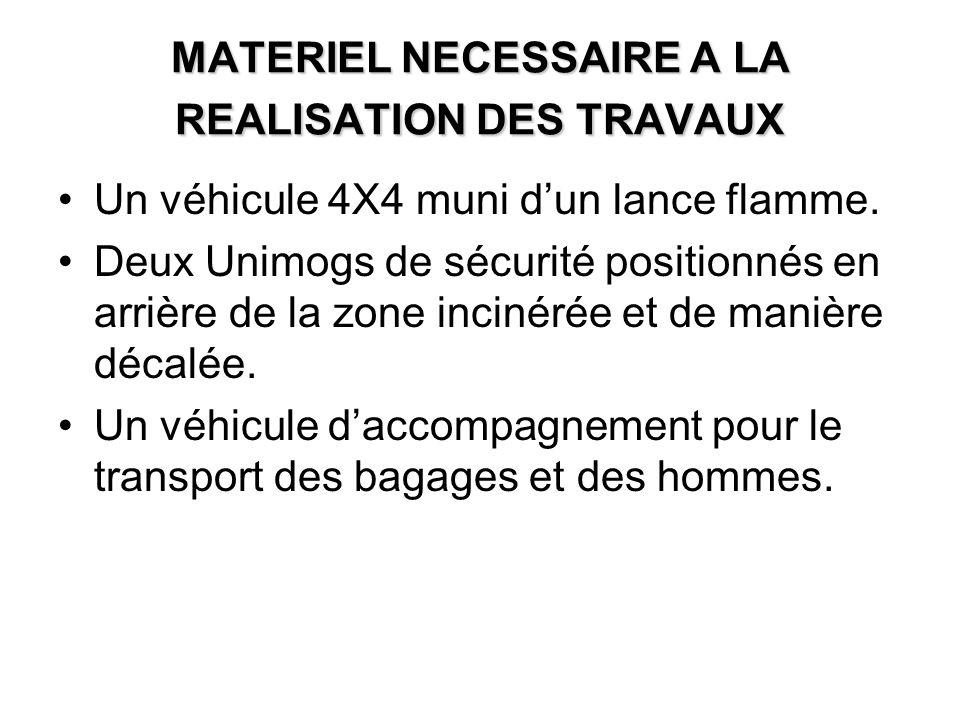 MATERIEL NECESSAIRE A LA REALISATION DES TRAVAUX Un véhicule 4X4 muni dun lance flamme.
