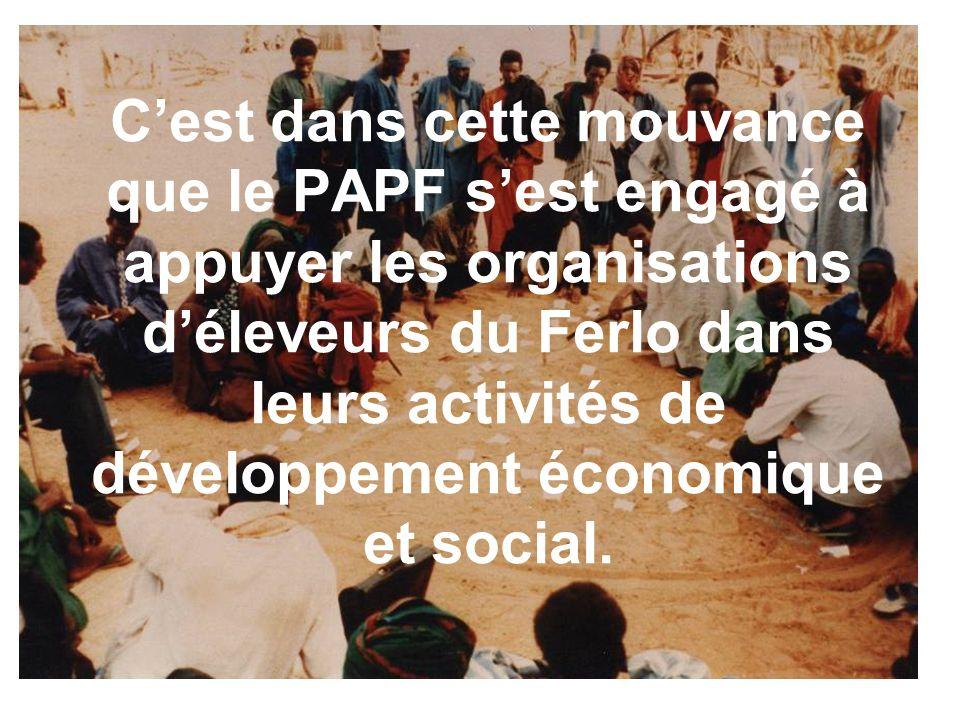 Cest dans cette mouvance que le PAPF sest engagé à appuyer les organisations déleveurs du Ferlo dans leurs activités de développement économique et social.