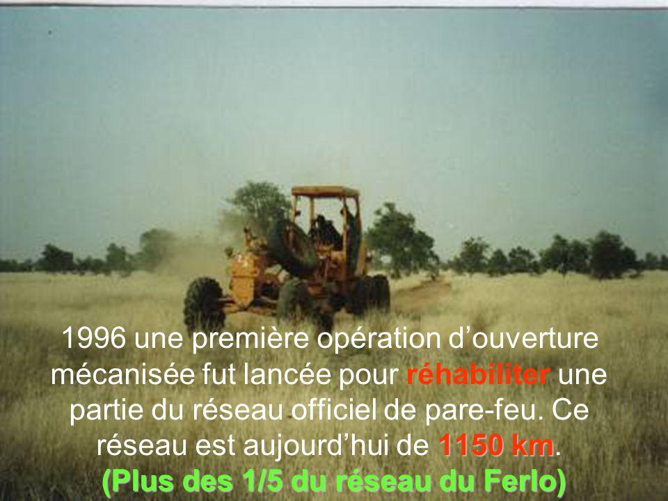 1150 km (Plus des 1/5 du réseau du Ferlo) 1996 une première opération douverture mécanisée fut lancée pour réhabiliter une partie du réseau officiel de pare-feu.