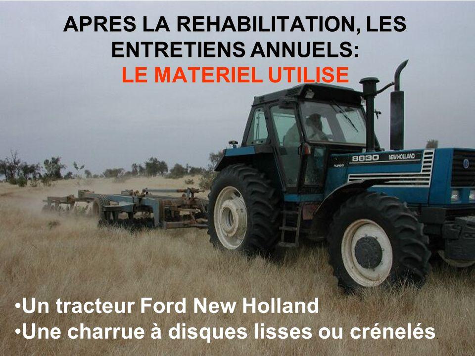 APRES LA REHABILITATION, LES ENTRETIENS ANNUELS: LE MATERIEL UTILISE Un tracteur Ford New Holland Une charrue à disques lisses ou crénelés.