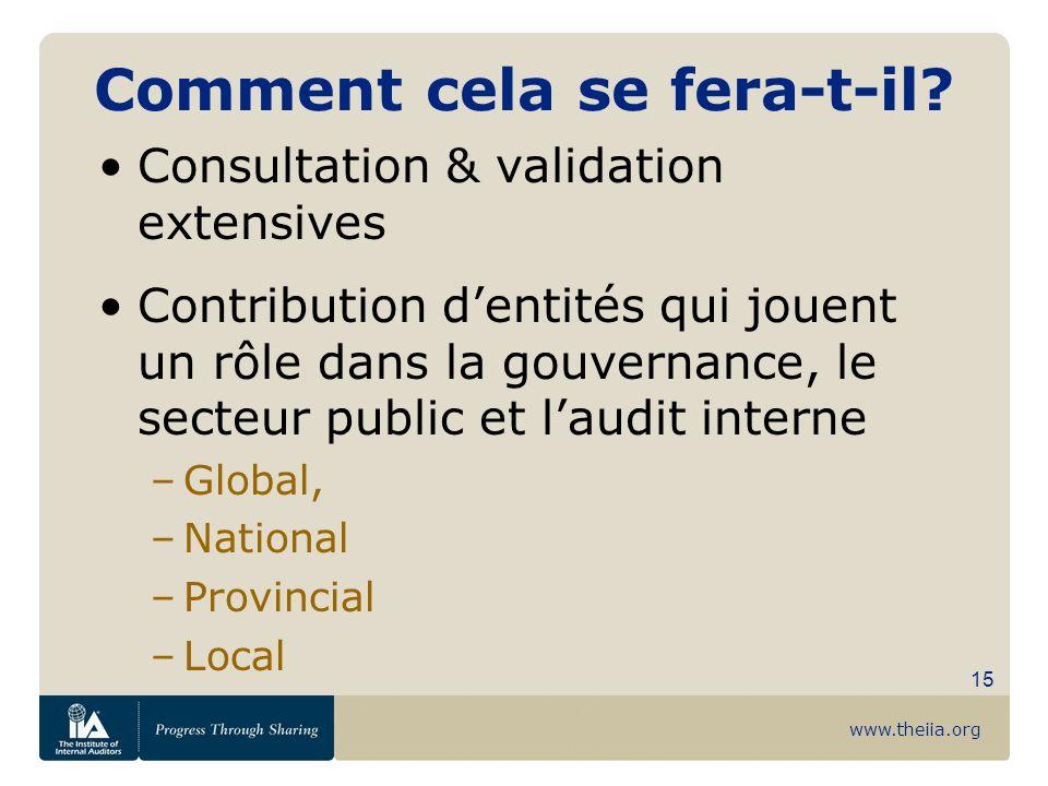 www.theiia.org 15 Comment cela se fera-t-il? Consultation & validation extensives Contribution dentités qui jouent un rôle dans la gouvernance, le sec
