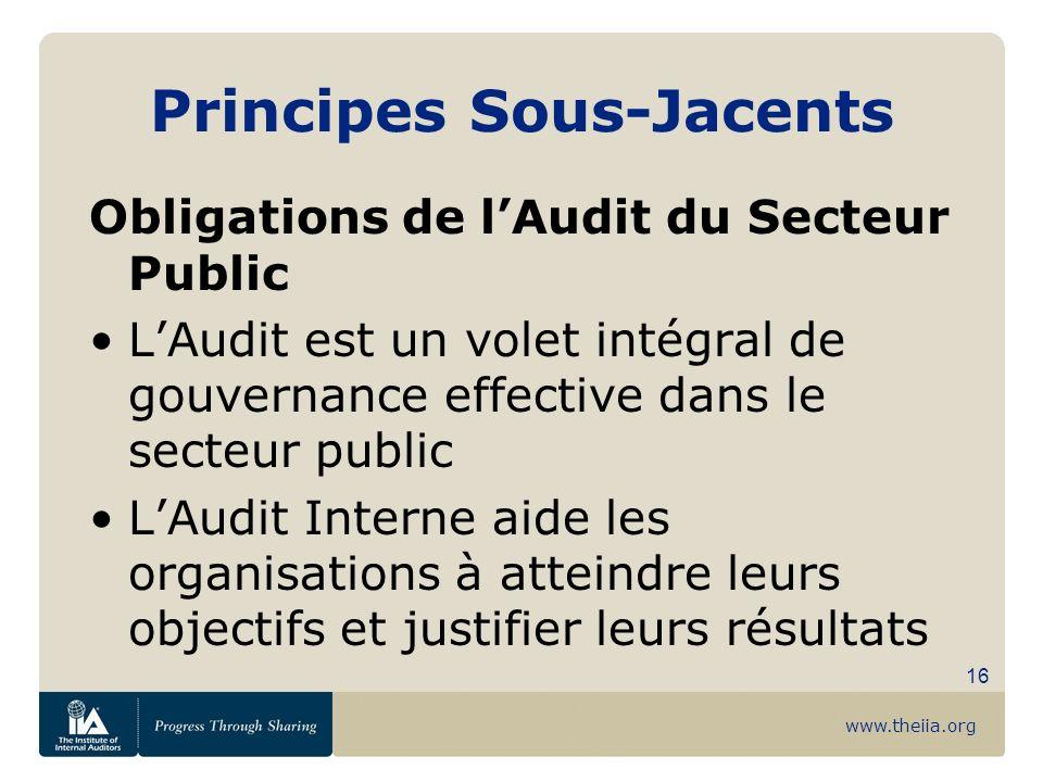 www.theiia.org 16 Principes Sous-Jacents Obligations de lAudit du Secteur Public LAudit est un volet intégral de gouvernance effective dans le secteur
