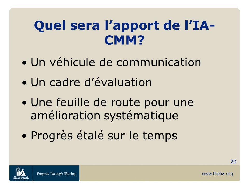 www.theiia.org 20 Quel sera lapport de lIA- CMM? Un véhicule de communication Un cadre dévaluation Une feuille de route pour une amélioration systémat