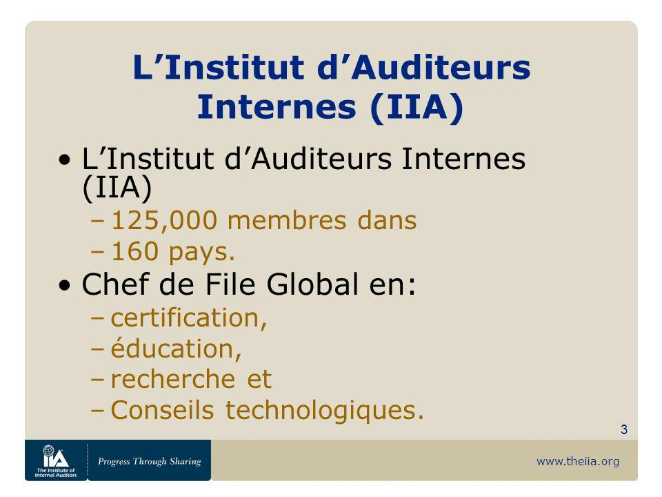 www.theiia.org 3 LInstitut dAuditeurs Internes (IIA) –125,000 membres dans –160 pays. Chef de File Global en: –certification, –éducation, –recherche e