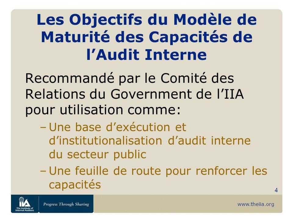 www.theiia.org 4 Les Objectifs du Modèle de Maturité des Capacités de lAudit Interne Recommandé par le Comité des Relations du Government de lIIA pour
