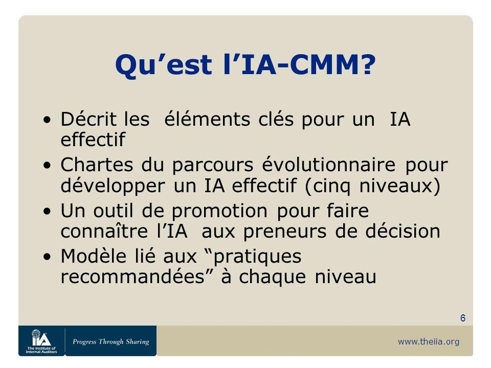 www.theiia.org 6 Quest lIA-CMM? Décrit les éléments clés pour un IA effectif Chartes du parcours évolutionnaire pour développer un IA effectif (cinq n