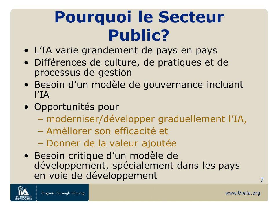 www.theiia.org 7 Pourquoi le Secteur Public? LIA varie grandement de pays en pays Différences de culture, de pratiques et de processus de gestion Beso